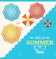 summer time banner with a beach umbrella vector image