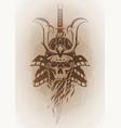 skull in the samurai helmet vector image
