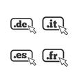 Top-level domains signs De It Es and Fr vector image