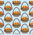 Fruit apple pear basket pattern vector image