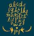 Hand Drawn Gold Foil Letters Birds and Hearts Set vector image