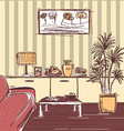 modern interior of living room design hand drawing vector image