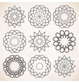 Round ornaments set over beige vintage background vector image