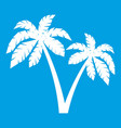 two palms icon white vector image