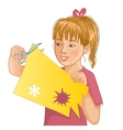 Girl is cutting color paper with scissors vector image vector image