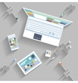 Laptop digital tablet smartphone with usb cable vector image