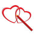 red pencil and heart vector image vector image