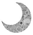 Hand drawn moon with flowers mandalas and paisley vector image