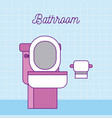 bathroom toilet and paper on wall image vector image