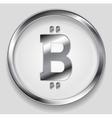 Crypto currency metal icon bitcoin design vector image