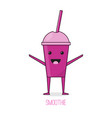 cute cartoon fruit smoothies in cups vector image