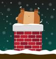 cute fat big reindeer stuck in chimney vector image