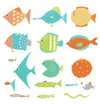 fish set in color vector image