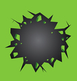 Hole cracked in the green wall vector image