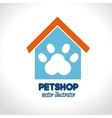 pet shop concept house paw icon vector image