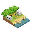 recreational vehicles at lake isometri vector image