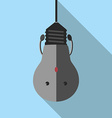 Hanging sad lightbulb character vector image