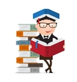 pupil leaning on a pile of books vector image