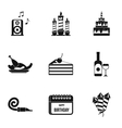 Children party icons set simple style vector image
