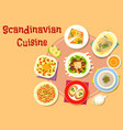 scandinavian cuisine fish dishes icon design vector image