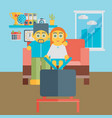 a people watching a tv show together vector image