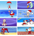 Cartoon Greeting Cards with Santa Claus vector image vector image