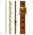 Leather belts with brass buckles and chain vector image vector image