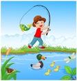 Little boy fishing vector image