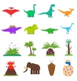 Dinosaurs Flat Set vector image