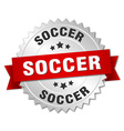 soccer 3d silver badge with red ribbon vector image