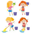 girl doing different kind of chores vector image
