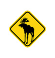 Road sign yellow deer Moose pointer Attention vector image