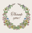 thank you card inscription inside the wreath of vector image
