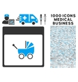 Baby Carriage Calendar Page Icon With 1000 Medical vector image