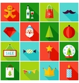 Merry Christmas Colorful Icons vector image