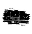 Berlin skyline silhouette hand drawn sketch vector image