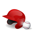 Baseball helmet and baseball vector image