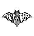trick or treat bat silhouette isolated on white vector image