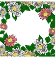 Frame with hand-drawn colorful flowers vector image vector image