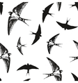 Flying birds black and white pattern vector image