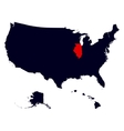 Illinois State in the United States map vector image