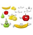 Cartoon apple lemon banana pear fruits vector image