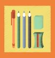 flat shading style icon pencil eraser pen vector image