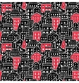 Houses Pattern Big Black and Red vector image