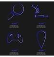Set of fashionable blue icons trending symbols vector image
