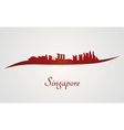 Singapore skyline in red and gray background vector image