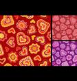 Seamless hand-drawn hearts patterns vector image vector image