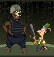 cartoon hunter with a gun was afraid of a bear vector image