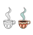 Set of two doodle coffee cups outline and subdued vector image vector image