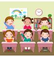 School kids studying in classroom vector image